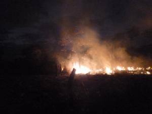 Flames around the Mfuba Co-op's field.