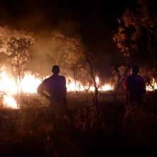 Ba Allan and Ba Bernardi watch the fire they started to make a firebreak around the Mfuba Co-op's field.