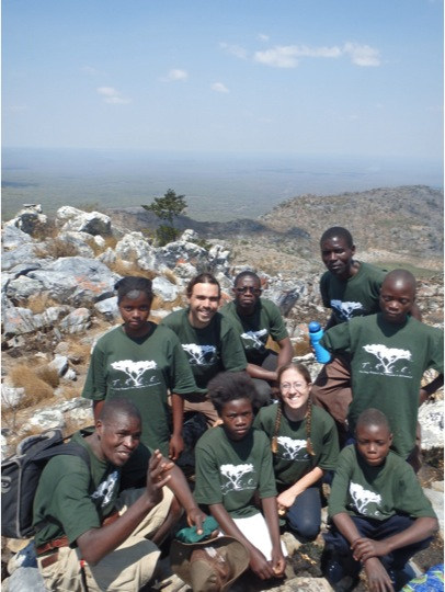 Go Green! Green Pride at the top of Mount Lavushi. Back row L to R: Gertrude, Zach, adopted Greenie Ba Jonathan (from the park staff), Ba Allan, Stephen. Front row L to R: Ba Moses (Zach's counterpart), Cynthia, me, and Brian.