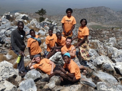 Orange Pride at the top of Mount Lavushi.