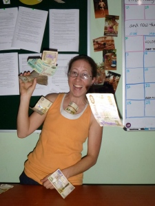 Me showing off the insane amount of cash I carried around with me in the days leading up to Camp TREE.