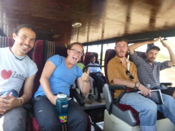 Excited and terrified all at the same time: PCVs Zach, Taylor, Adam and Trevor in the park's giant bus on the way to Camp Tree on Day 1.