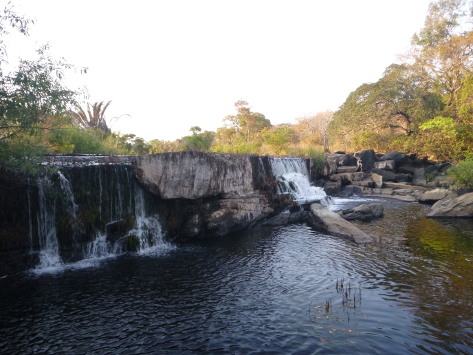 Waterfall on the Lukulu River, just below our camp.
