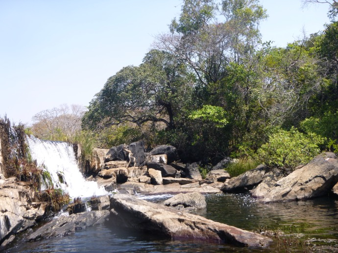 Waterfall below camp. In rainy season, apparently this is just a small rapid in the Lukulu River.