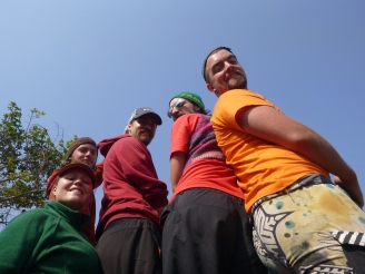 Amy, Adam, Trevor, Scott, and Cody enjoy the breeze in the back of the truck.
