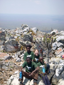 Mfuba Village at the top! Cynthia and me are in the back, Ba Allan and Stephen up front.
