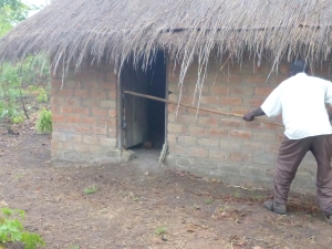 Ba Allan killing a cobra with a stick. You can just make out the snake in the crack of the door where he's jabbed the stick.