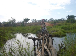 Me getting across a janky log bridge on the way to Chungu. I took my heavy panniers across separately.