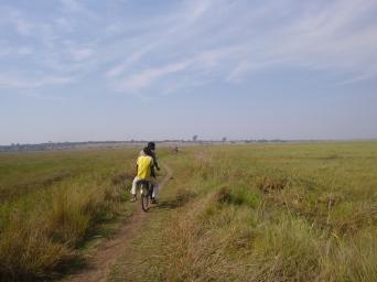 Biking through a wetland between Chungu and the Northern-Luapula provincial border town of Kasaba.