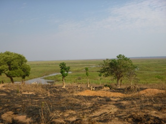 Burned hillside below Kasaba. We saw a LOT of burned landscapes along the ride, as this was the hottest, driest, and smokiest time of year in Zambia.