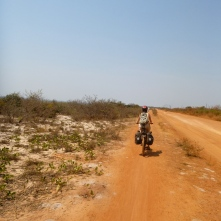 Biking along the road from Lubwe to Samfya, which totally reminded me of biking through scrub brush in coastal California.