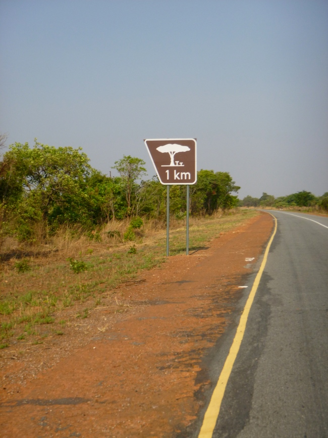 For a few hundred kilometers beyond Samfya, we switched to smooth tarmac, accompanied by bizarre road signs. This one did not advertise a picnicking spot but a typical vehicle lay-by.