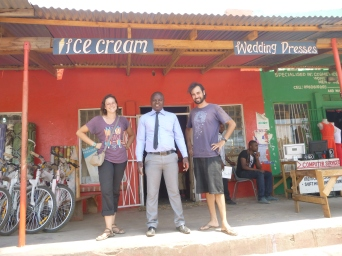 Hayley, Jesse, and a random guy whose name I now forget in front of one of the funnier business combos we found in Luapula's provincial capital, Mansa. I ate three ice cream cones that day, but purchased no wedding dresses.