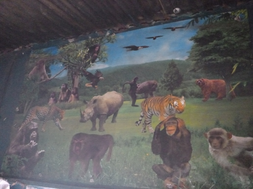 A bizarre painting of North American and African wildlife, which Samwell and I found in a hole-in-the-wall ubwali restaurant in Mwense.