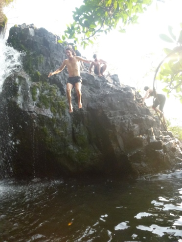 "Samwell jumps into the ""secret"" pool."