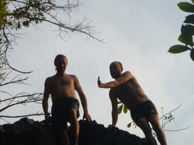 Jacob and Michael discuss a particularly high cliff jump.