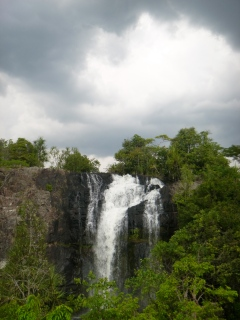 Gathering storm clouds over a lower falls. We got rained on a fair bit during our two-and-a-half days at Intumbachushi.