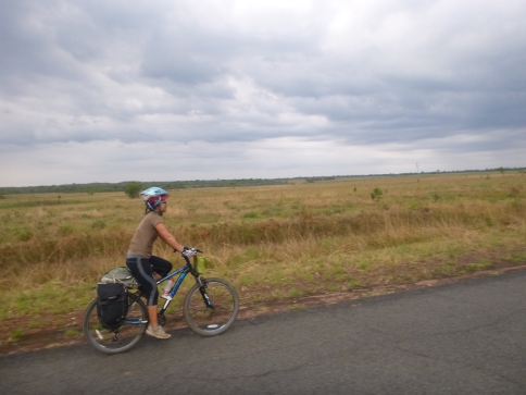 Ryeon on the road from Intumbachushi to Lumangwe falls. Those clouds soon dumped rain on us!