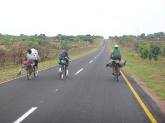Lucas biking with friends on the way from Kawambwa to Lumangwe Falls.