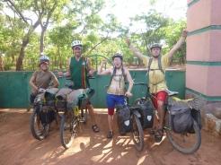 The biking quartet arrives at the entrance to Lumangwe Falls.