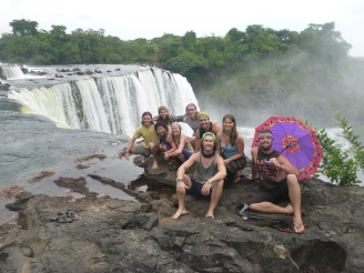The group above Lumangwe Falls. MUCH smaller than the crowd at Intumbachushi.