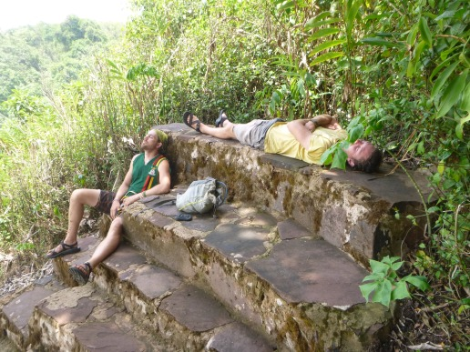 Lucas and Adam napping at the falls. I slept for quite a while myself. It was so cool and peaceful after so many days of biking and socializing ...