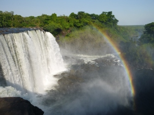 Rainbow over Lumangwe Falls on our last morning of camping. I took it as a good omen, but that day proved to be one of the toughest of my trip: 90 hot, sweaty, bone-shaking kilometers on the worst road I'd ever seen in Zambia.