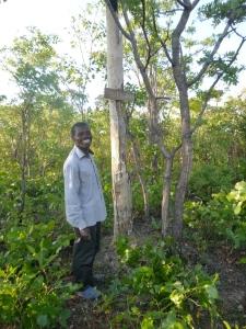 "Ba Bernardi posing by the ""Ulupili Mountain"" sign he recently made to mark his land."