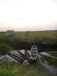 Fishing boats along a canal in Nsombo, on the marshy eastern edge of Lake Bangweulu.