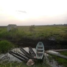 Fishing boats along a canal in Nsombo, on the marshy eastern edge of Lake Bangweulu.