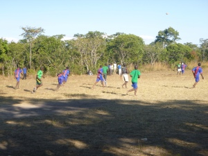 Almost everyone on the Mfuba football team plays barefoot.