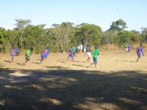 Almost everyone on the Mfuba football team plays barefoot.