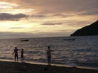 Line fishing at sunset.