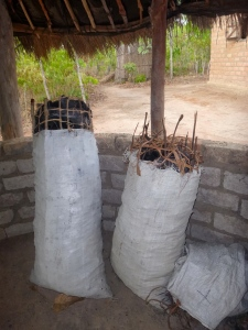The evidence: bags of charcoal in my nsaka. Neither bag was made under permit.