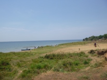 The beach behind Jim and Julie's house, which overlooks an arm of Lake Bangweulu.