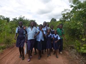 The Mfuba kids, walking the six kilometers to the primary school.