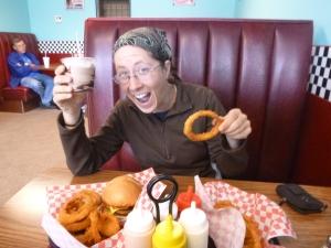 Onion rings and a hot fudge milkshake! Yesssss!